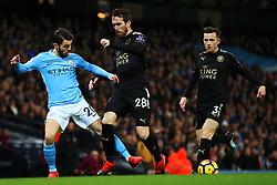 Bernardo Silva of Manchester City takes on Christian Fuchs of Leicester City - Mandatory by-line: Matt McNulty/JMP - 10/02/2018 - FOOTBALL - Etihad Stadium - Manchester, England - Manchester City v Leicester City - Premier League