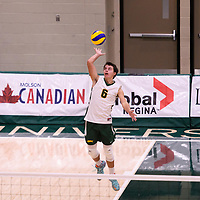 2nd year setter Noah Young (6) of the Regina Cougars in action during the Women's Volleyball Home Game vs U of C Dinos on October21 at the CKHS University of Regina. Credit Arthur Ward/©Arthur Images 2017