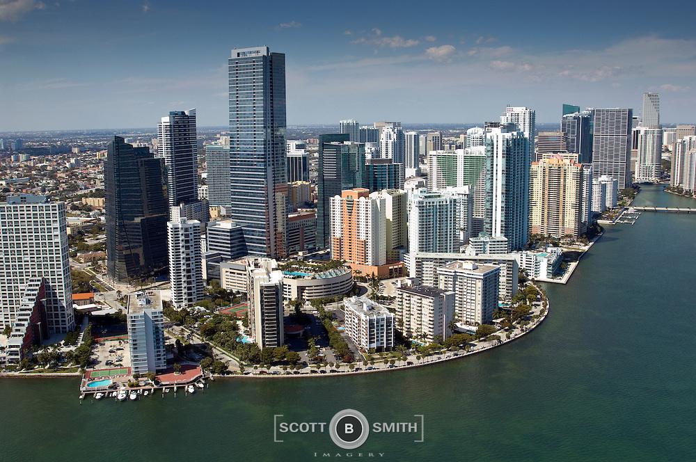 Four Seasons Hotel towers over Brickell Avenue Miami Florida