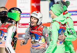 Peter Prevc, Robert Kranjec, Jurij Tepes and Anze Semenic (SLO) celebrate during Ski Flying Hill Team Competition at Day 3 of FIS Ski Jumping World Cup Final 2016, on March 19, 2016 in Planica, Slovenia. Photo by Vid Ponikvar / Sportida