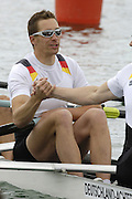 Munich, GERMANY, 2006, Thorsten Englemann, before the start of the men's eights heat at the FISA, Rowing, World Cup,  held on the Olympic Regatta Course, Munich, Thurs. 25.05.2006. © Peter Spurrier/Intersport-images.com,  / Mobile +44 [0] 7973 819 551 / email images@intersport-images.com.[Mandatory Credit, Peter Spurier/ Intersport Images] Rowing Course, Olympic Regatta Rowing Course, Munich, GERMANY