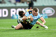 Angus Bell dives over to score a try. Waratahs v Hurricanes. 2021 Super Rugby Trans Tasman Round 1 Match. Played at Sydney Cricket Ground on Friday 14 May 2021. Photo Clay Cross / photosport.nz