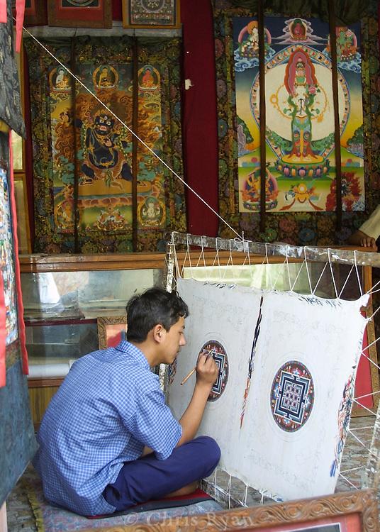 Artist working on a Thangka in Kathmandu, Nepal
