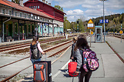 Three woman arrive by train at the closed state border in between Germany and Czech Republic at the city of Bayerisch Einsenstein after the corona virus outbreak changed our public lifes. Czech Republic is in the state of emergency and just their own citizens or foreigners with a residence permit are allowed to enter.