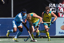 (L-R) Birenda Lakra of India, Daniel Beale of Australia, Tim Howard of Australia during the Champions Trophy finale between the Australia and India on the fields of BH&BC Breda on Juli 1, 2018 in Breda, the Netherlands.