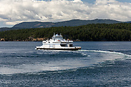 The BC Ferries vessel Queen of Cumberland (built 1992) leaves Village Bay on Mayne Island, British Columbia, Canada destined for Victoria (Swartz Bay).