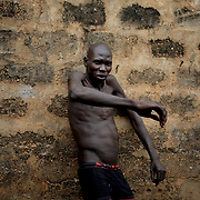 An inmate at the yard area in Juba Central Prison.