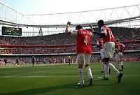 Photo: Tony Oudot.<br /> Arsenal v Bolton Wanderers. The Barclays Premiership. 14/04/2007.<br /> Emmanuel Adebayor and Cesc Fabregas celebrate their winning goal