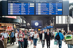 Busy concourse of Hamburg Hauptbahnhof, main railway  station in Germany