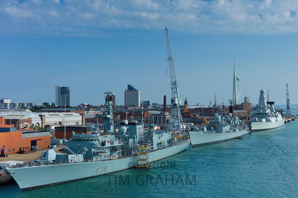 Royal Navy ships HMS Kent 23 frigate F78, HMS Edinburgh 42 destroyer D97, HMS Dragon 45 destroyer D35, Portsmouth Naval Base