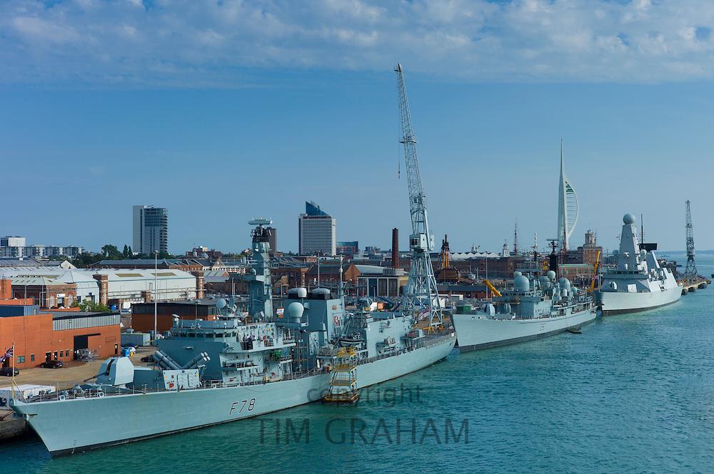 Royal Navy ships HMS Kent 23 frigate F78, HMS Edinburgh 42 destroyer D97, HMS Dragon 45 destroyer D35, Portsmouth Naval Base