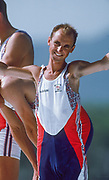 Barcelona, SPAIN. Gold Medalist, GBR M2+,  Cox Gary HERBERT, awards Dock  Celebrate on the awards dock. 1992 Olympic Rowing Regatta Lake Banyoles, Catalonia [Mandatory Credit Peter Spurrier/ Intersport Images] Last time Men's coxed pair raced at the Olympics,
