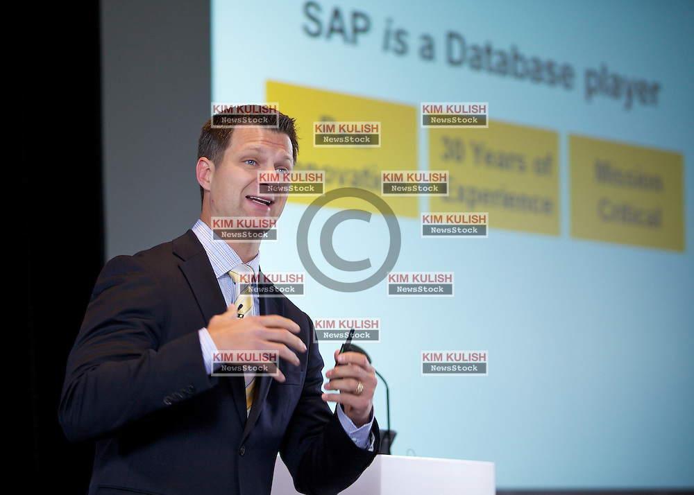 SAP's Steve Lucas, executive vice president of analytics, database and technology, presents their new database and mobile application development roadmap during a press event in San Francisco.  SAP's HANA, high-performance analytical appliance, will be the core component in their plans.