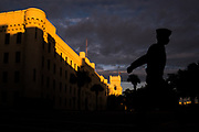 A knob crosses Jones Avenue on the way to his first day of class at The Citadel in Charleston, South Carolina on Wednesday, January 20, 2021.<br /> <br /> Credit: Cameron Pollack / The Citadel