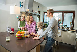 Family at together in the kitchen