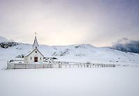 VIK, ICELAND - CIRCA MARCH 2015: Reyniskirkja, a Lutheran church near Vik in Iceland. It's built against Mt. Reynisfjall on the road down to Reynisfjara.