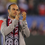 Landon Donovan, USA, reacts after his career highlights  were shown on screen at his farewell match during the USA Vs Ecuador International match at Rentschler Field, Hartford, Connecticut. USA. 10th October 2014. Photo Tim Clayton