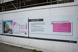 London, UK. 13th January, 2018. Notices regarding housing to be demolished and replaced close to the former St James's Gardens, which has been closed to facilitate work on the HS2 high-speed rail link.