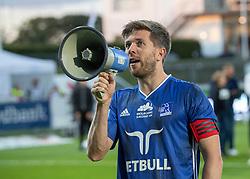 Anfører Martin Ørnskov (Lyngby Boldklub) taler efter kampen i 3F Superligaen mellem Lyngby Boldklub og Hobro IK den 20. juli 2020 på Lyngby Stadion (Foto: Claus Birch).