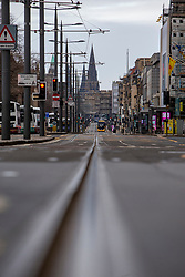 Princes Street. Edinburgh city centre on Tuesday 25th March, after the Lockdown.