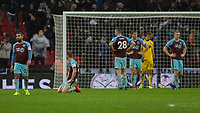Football - 2018 / 2019 Premier League - Tottenham Hotspur vs. Burnley<br /> <br /> Dejected Burnley players after conceding in the 92nd minute at Wembley Stadium.<br /> <br /> COLORSPORT/DANIEL BEARHAM