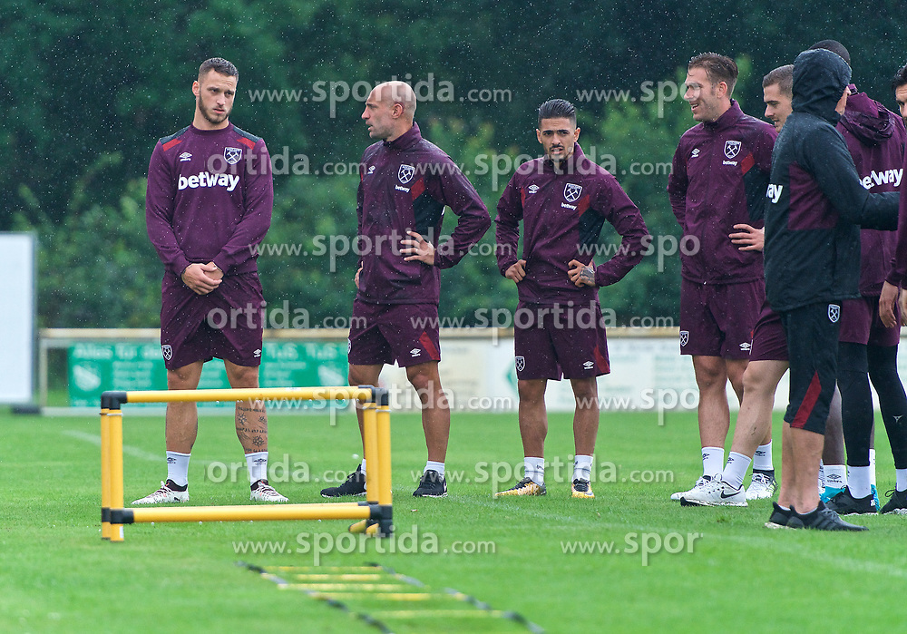 25.07.2017, Trainingsplatz TuS Bothel, Bothel, GER, Trainingslager, West Ham United, im Bild Marco Arnautovic, links, beim Warmmachen // during a trainingsession at the trainingscamp of the English Premier League Football Club West Ham United at the Trainingsplatz TuS Bothel in Bothel, Germany on 2017/07/25. EXPA Pictures © 2017, PhotoCredit: EXPA/ Andreas Gumz<br /> <br /> *****ATTENTION - OUT of GER*****