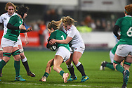 England player Marlie Packer tackles an Irish player late in the first half during the Women's 6 Nations match between Ireland Women and England Women at Energia Park, Dublin, Ireland on 1 February 2019.
