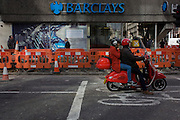 Exterior of the Barclays Bank branch and outside roadworks in Moorgate, City of London.