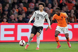 March 24, 2019 - Amsterdam, France - AMSTERDAM, Football, 24-03-2019, Euro qualification, Stadium Johan Cruyffarena, Germany player Leroy Sane and Netherlands player Quincy Promes during the game Netherlands - Germany. (Credit Image: © Panoramic via ZUMA Press)