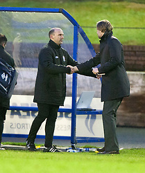 Cowdenbeath's manager Colin Cameron and Steven Pressley, Falkirk manager at the end..Cowdenbeath 4 v 1 Falkirk, 9/2/2013..©Michael Schofield.