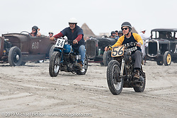 Jason Sheets (56) on his Harley-Davidson Knucklehead racer against Keith Van Fleet (24) on his Indian racer at TROG (The Race Of Gentlemen). Wildwood, NJ. USA. Sunday June 10, 2018. Photography ©2018 Michael Lichter.