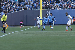 March 11, 2018 - New York, New York, United States - Maximiliano Moralez (10) of NYC FC controls air ball during regular MLS game against LA Galaxy at Yankee stadium NYC FC won 2 -1  (Credit Image: © Lev Radin/Pacific Press via ZUMA Wire)