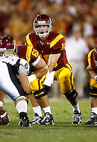 1 September 2007:  QB #10 John David Booty in action during the USC Trojans college football team defeated the Idaho Vandals 38-10 at the Los Angeles Memorial Coliseum in CA.  NCAA Pac-10 #1 ranked team first game of the season.