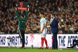 14 November 2017 -  International Friendly - England v Brazil - England Manager Gareth Southgate applauds as Dominic Solanke prepares to make his debut - Photo: Marc Atkins/Offside