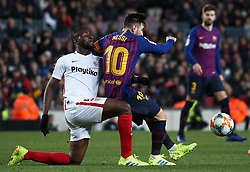 January 30, 2019 - Barcelona, Spain - Amadou and Leo Messi during the match between FC Barcelona and Sevilla FC, corresponding to the secong leg of the 1/4 final of the spanish cup, played at the Camp Nou Stadium, on 30th January 2019, in Barcelona, Spain. Photo: Joan Valls/Urbanandsport /NurPhoto. (Credit Image: © Joan Valls/NurPhoto via ZUMA Press)