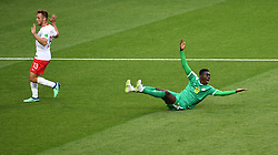 MOSCOW, June 19, 2018  Ismaila Sarr (R) of Senegal reacts during a Group H match between Poland and Senegal at the 2018 FIFA World Cup in Moscow, Russia, June 19, 2018. (Credit Image: © Wang Yuguo/Xinhua via ZUMA Wire)