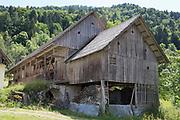 A traditional Slovenian barn, on 18th June 2018, in Kupljenik, Slovenia