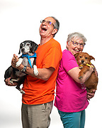 Laughing Yoga instructors with their dogs, Ginger and Buddy