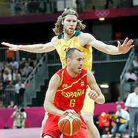 31 July 2012: Spain Sergio Rodriguez drives past Australia David Barlow during the first half of Spain vs Australia, during the men's basketball preliminary, at the Basketball Arena, in London, Great Britain.