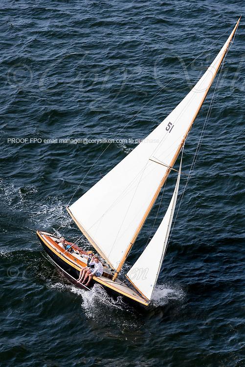 Aquila sailing in the Panerai Newport Classic Yacht Regatta, day one.