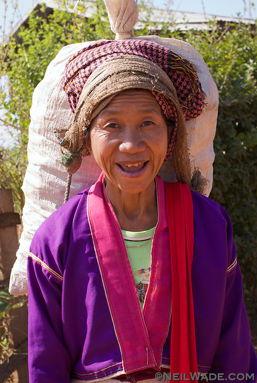 A villager from the hills near Kalaw, Myanmar stops to chat.