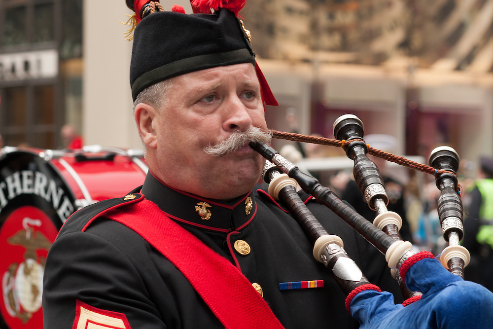 A piper from the Leatherneck Pipes and Drums