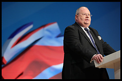 Eric Pickles  speech at the Conservative Party Conference hotel in Birmingham,Monday, 8th October October 2012. Photo by: Stephen Lock / i-Images