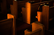 Pews are lit by sunlight on Wednesday, Aug. 26, 2020, at St. Peter's Lutheran Church, LaGrange, Mo. LCMS Communications/Erik M. Lunsford
