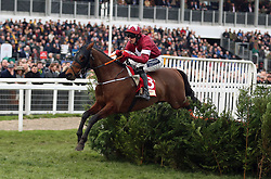 Tiger Roll ridden by Keith Donoghue on their way to winning the Glenfarclas Chase on Ladies Day of the 2019 Cheltenham Festival at Cheltenham Racecourse.