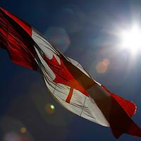 North America, Canada, Nova Scotia. Canada's Flag waves in a sunny blue sky.