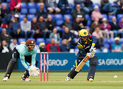 Glamorgan's Kieran Carlson<br /> <br /> Photographer Simon King/Replay Images<br /> <br /> Vitality Blast T20 - Round 14 - Glamorgan v Surrey - Friday 17th August 2018 - Sophia Gardens - Cardiff<br /> <br /> World Copyright © Replay Images . All rights reserved. info@replayimages.co.uk - http://replayimages.co.uk