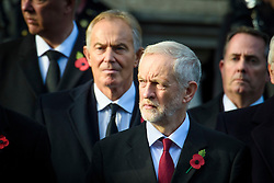 Labour leader Jeremy Corbyn and Former Prime Minister Tony Blair during the annual Remembrance Sunday Service at the Cenotaph memorial in Whitehall, central London, held in tribute for members of the armed forces who have died in major conflicts. Picture date: Sunday November 13th, 2016. Photo credit should read: Matt Crossick/ EMPICS Entertainment.