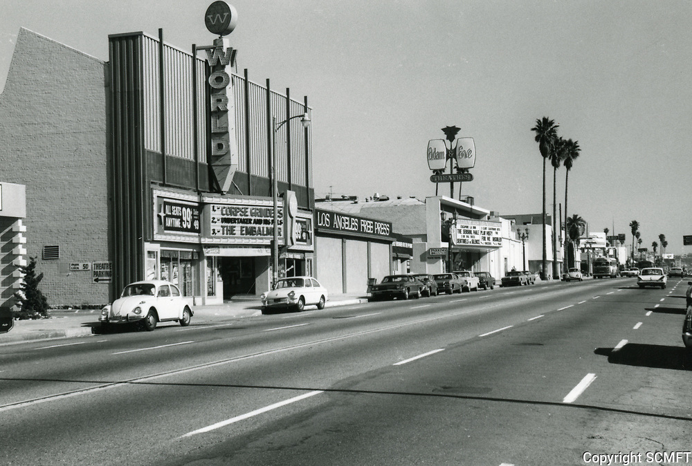 1971 World Theater on Hollywood Blvd. east of Gower St.