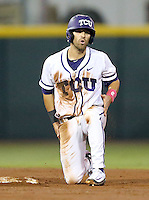 TCU's Ryan Merrill (8) reacts after being picked off stealing second base against Texas A&M during the third inning of a NCAA college baseball Super Regional tournament game, Saturday, June 11, 2016, in College Station, Texas. (AP Photo/Sam Craft)